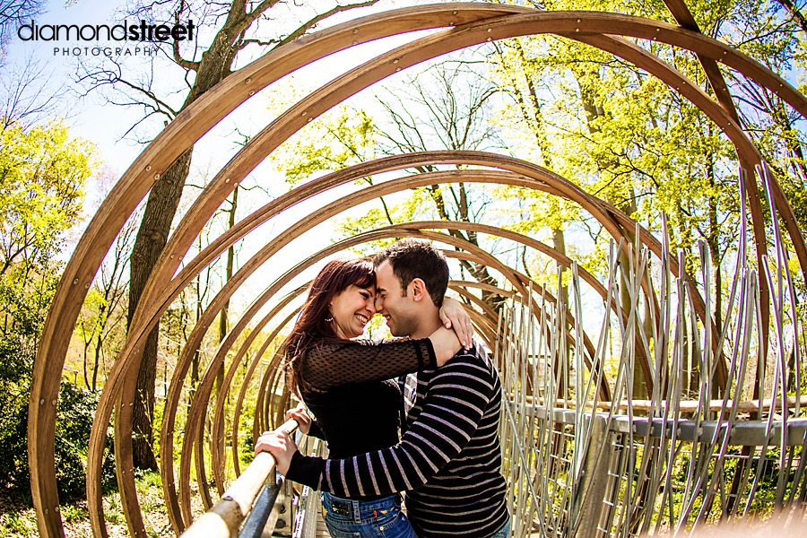 Engagement photos at Morris Arboretum