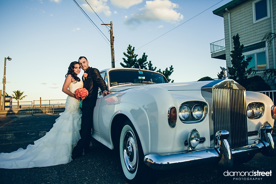 point pleasant beach wedding photos in rolls royce