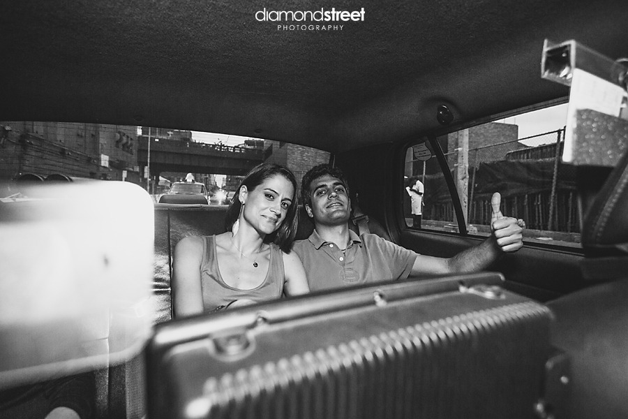 New York City taxi cab engagement photography