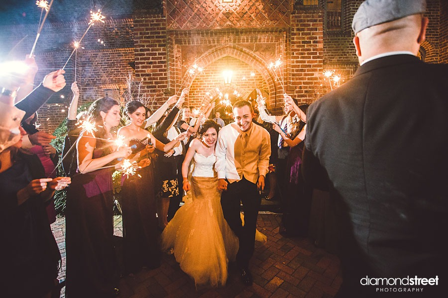 Aldie Mansion in Bucks County Wedding sparklers
