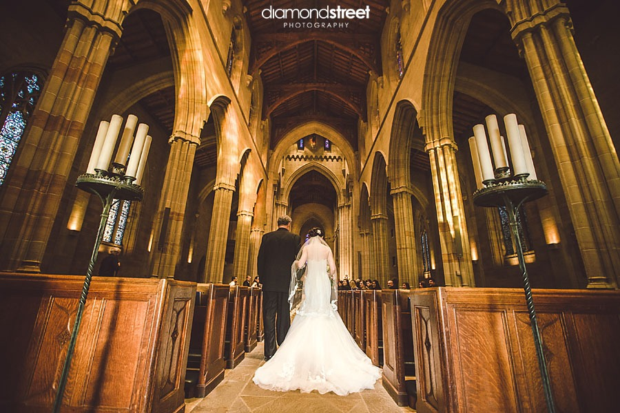 Bryn Athyn Cathedral wedding down the aisle
