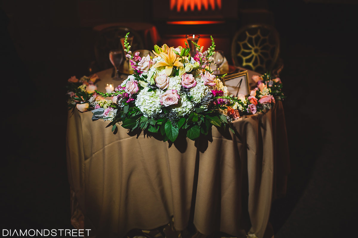 Ben franklin ballroom wedding flowers