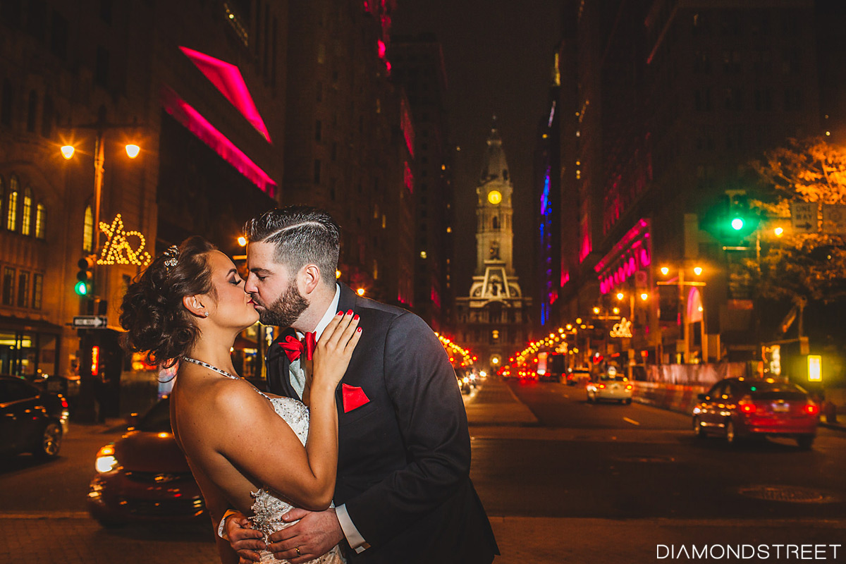 Philadelphia city hall wedding shot