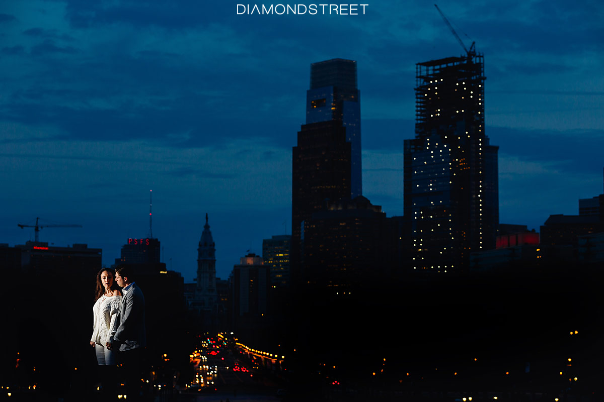 Philadelphia Art Museum at night engagement photos