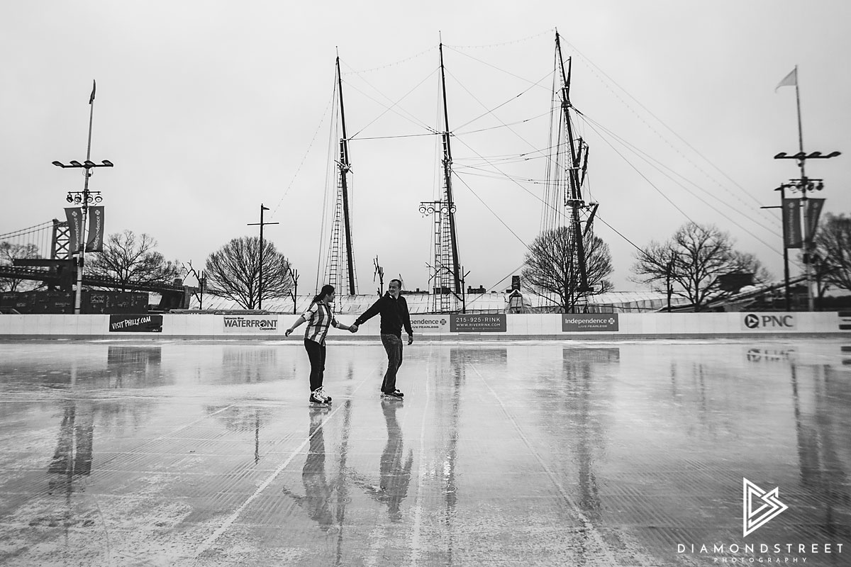 Blue Cross River Rink engagement photos