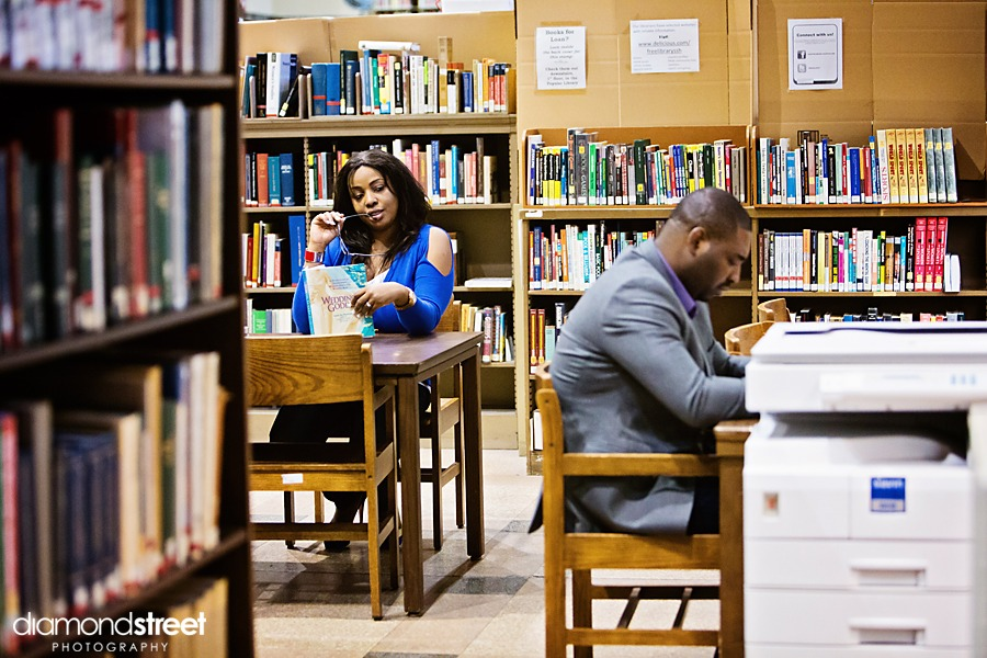 Philadelphia Free library engagement pictures