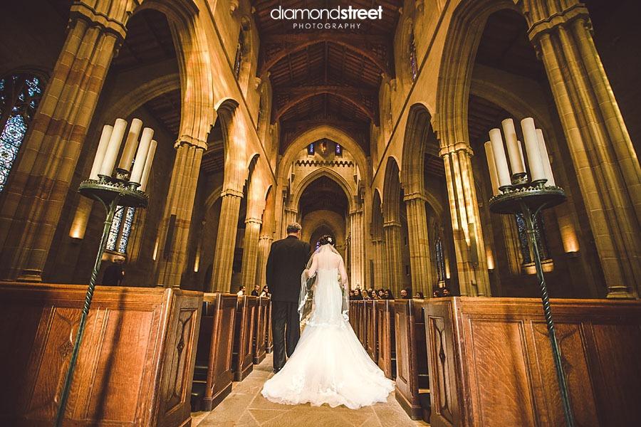Bryn Athyn Cathedral wedding down the aisle