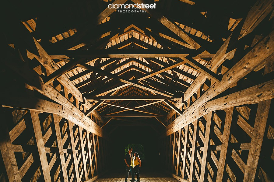 Tyler state park engagement photos covered bridge