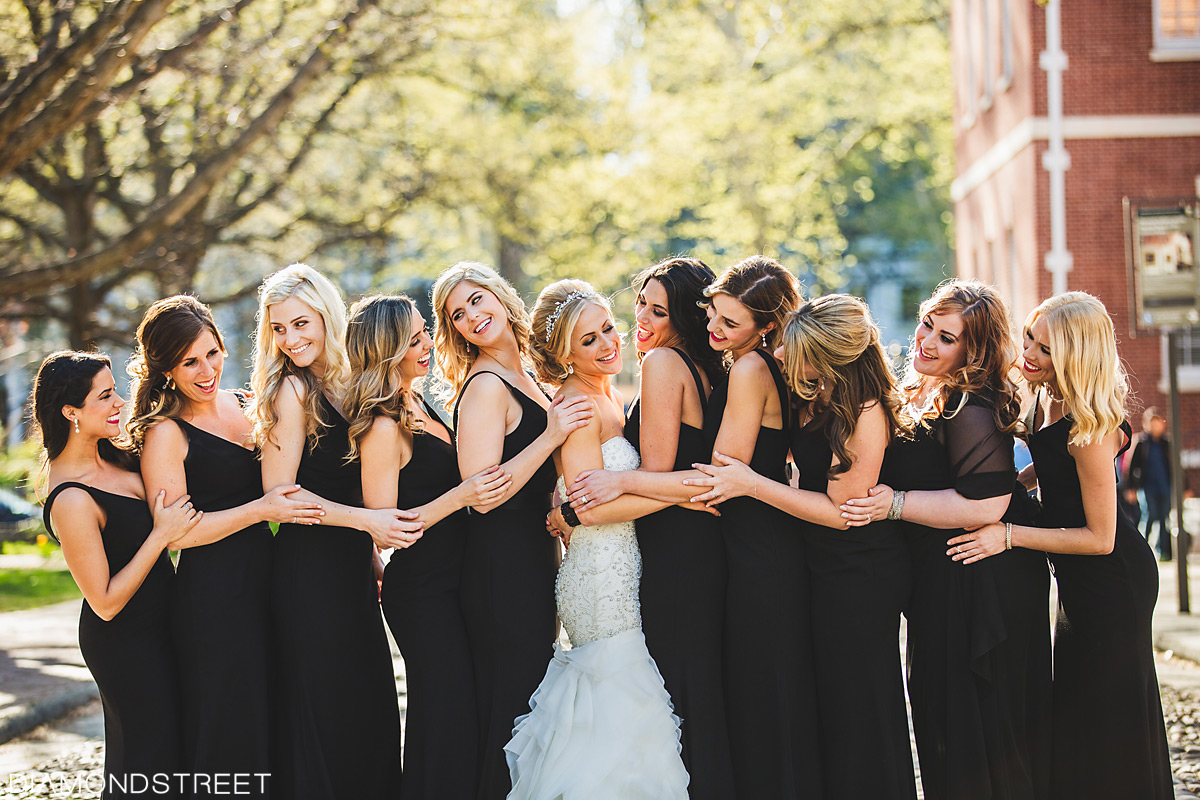bridal party at Rittenhouse wedding photos