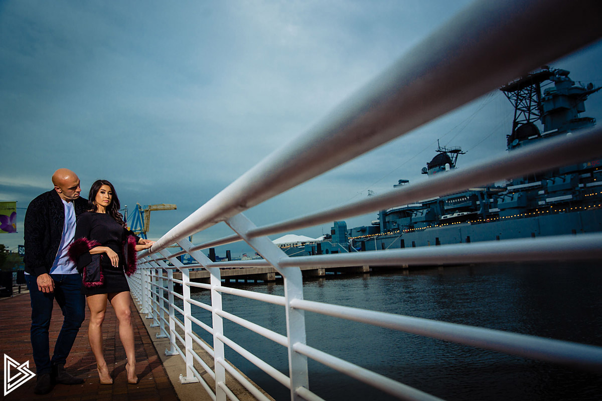Camden Waterfront engagement photos