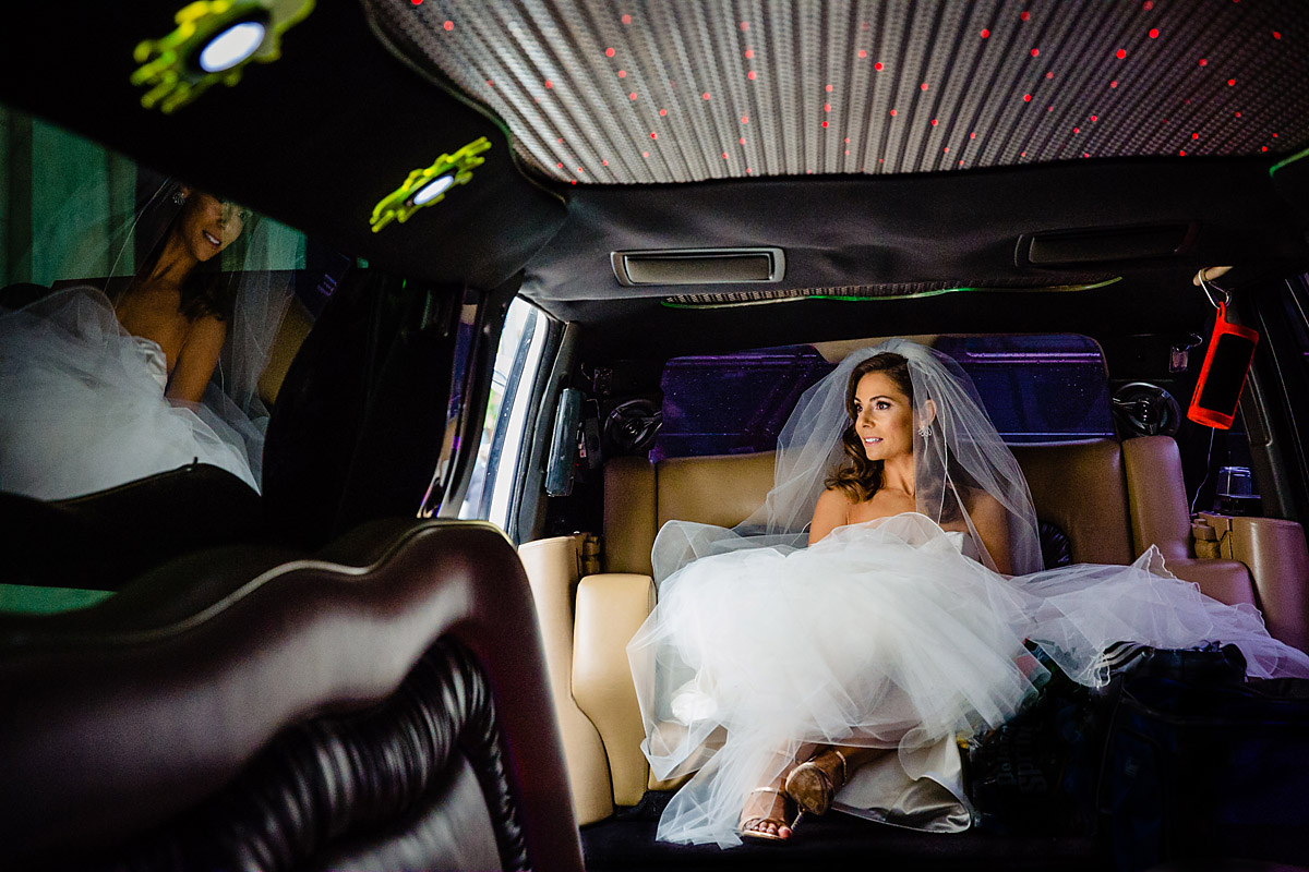Philadelphia bride in limo photo
